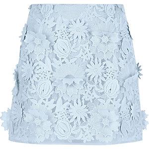 Mini-jupe bleu claire en dentelle à fleurs en 3D
