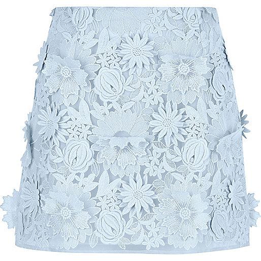 Light blue 3D floral lace mini skirt
