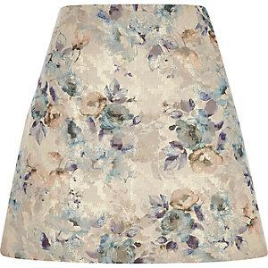 Mini-jupe à fleurs en jacquard crème