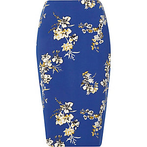 Blauwe kokerrok met bloemenprint