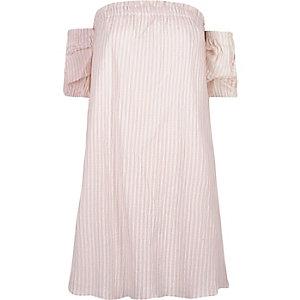 Robe Bardot rayée rose évasée