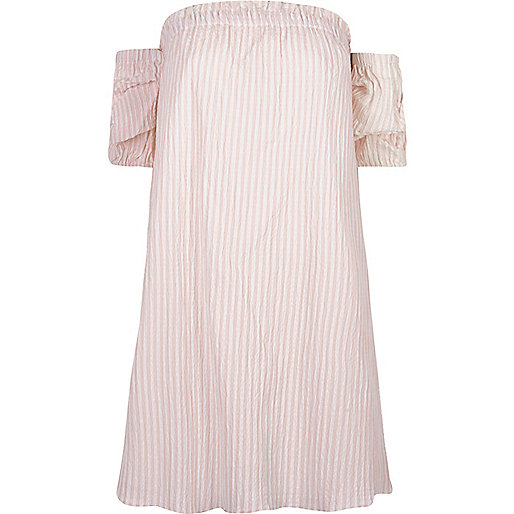 Pink stripe print bardot swing dress