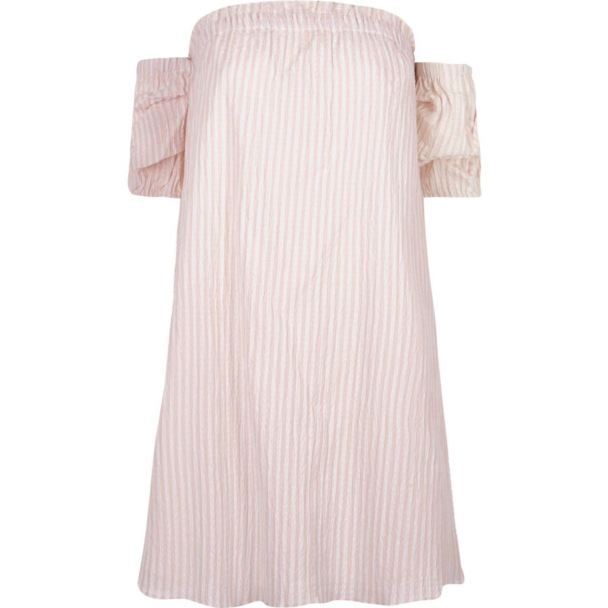 Pink stripe print bardot swing dress