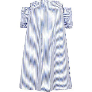 Blue stripe print bardot swing dress