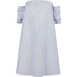Blue stripe print bardot swing dress