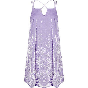 Light purple velvet cross strap slip dress
