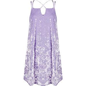 Light purple velvet cross strap slip dress
