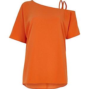 Oranje schouderloze top met camibandjes