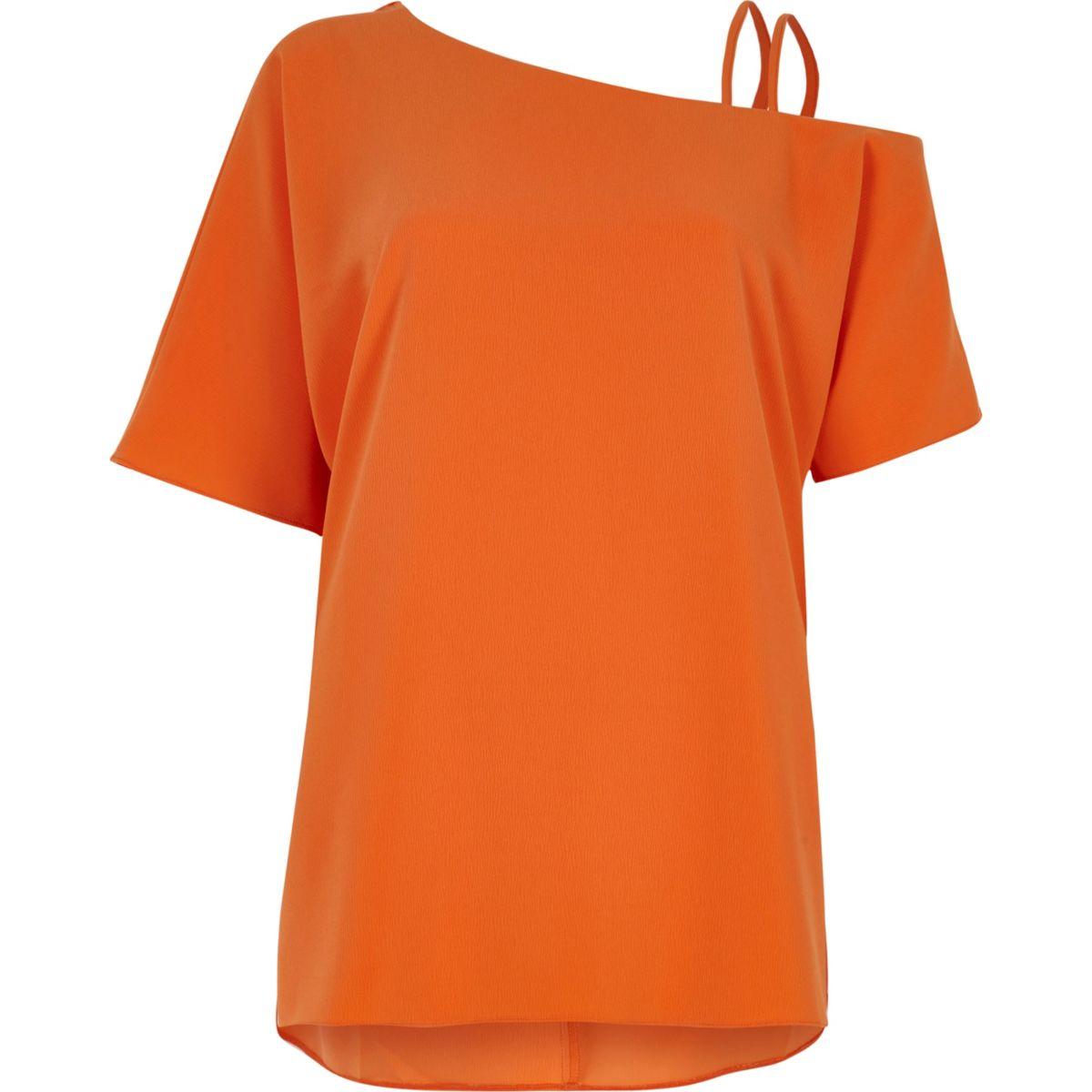 Orange cold shoulder double cami strap top