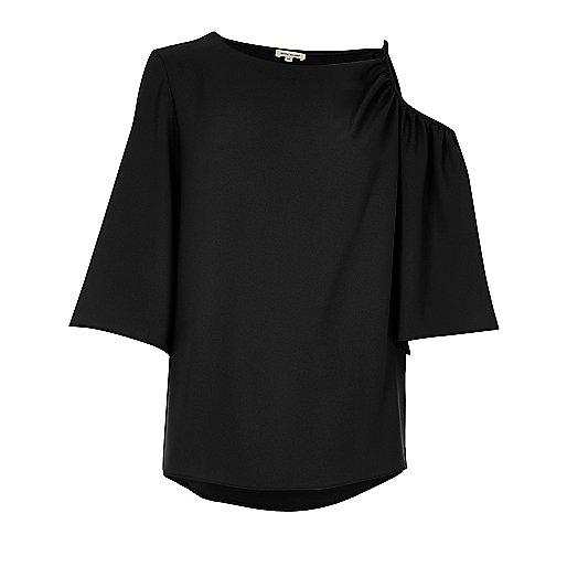 Black cut out shoulder short sleeve top