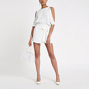 White cold shoulder wrap romper