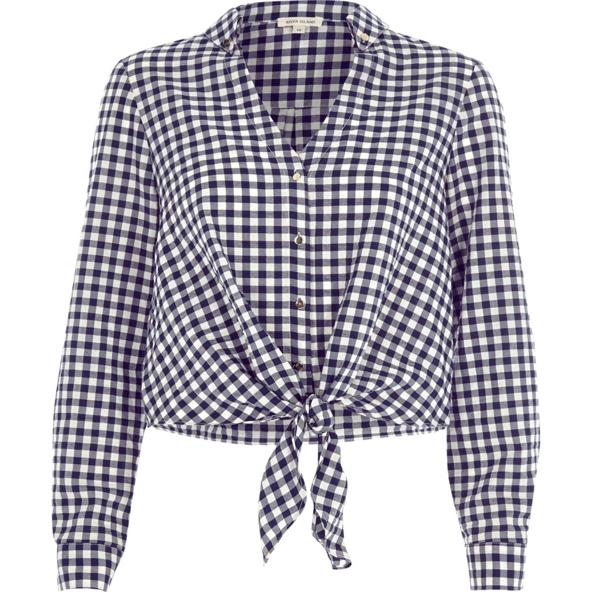 Navy gingham check tie front cropped shirt