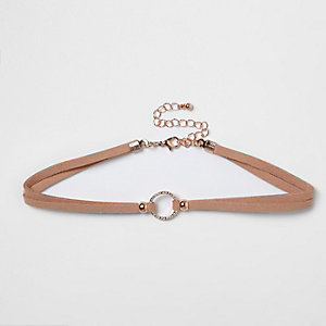 Light pink rhinestone ring choker