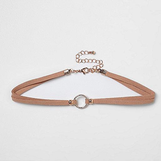 Light pink rhinestone ring choker
