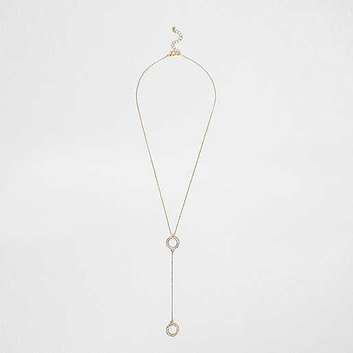 Gold tone double pave circle necklace