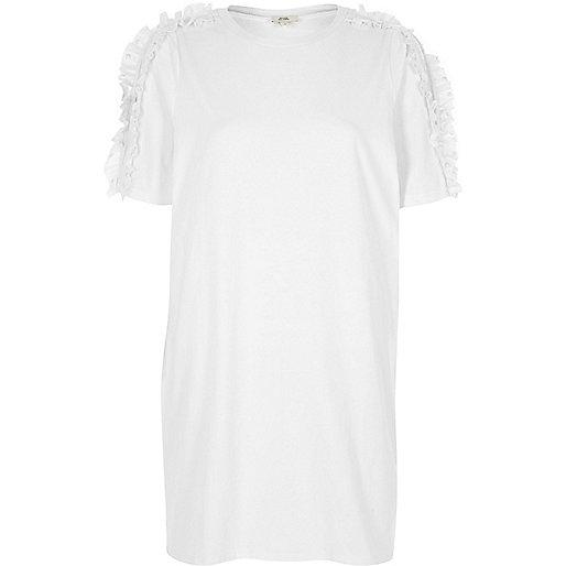 White frill cold shoulder oversized T-shirt