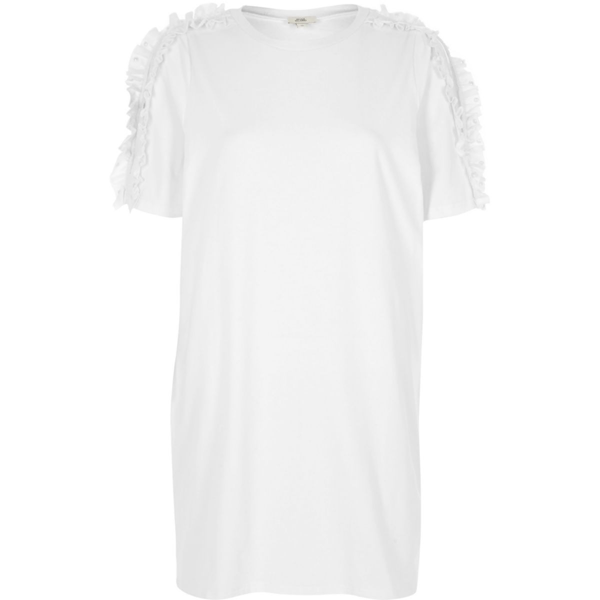 White frill cold shoulder oversized T-shirt