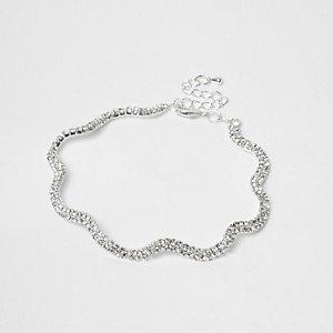 Bracelet de cheville argenté ondulé à strass