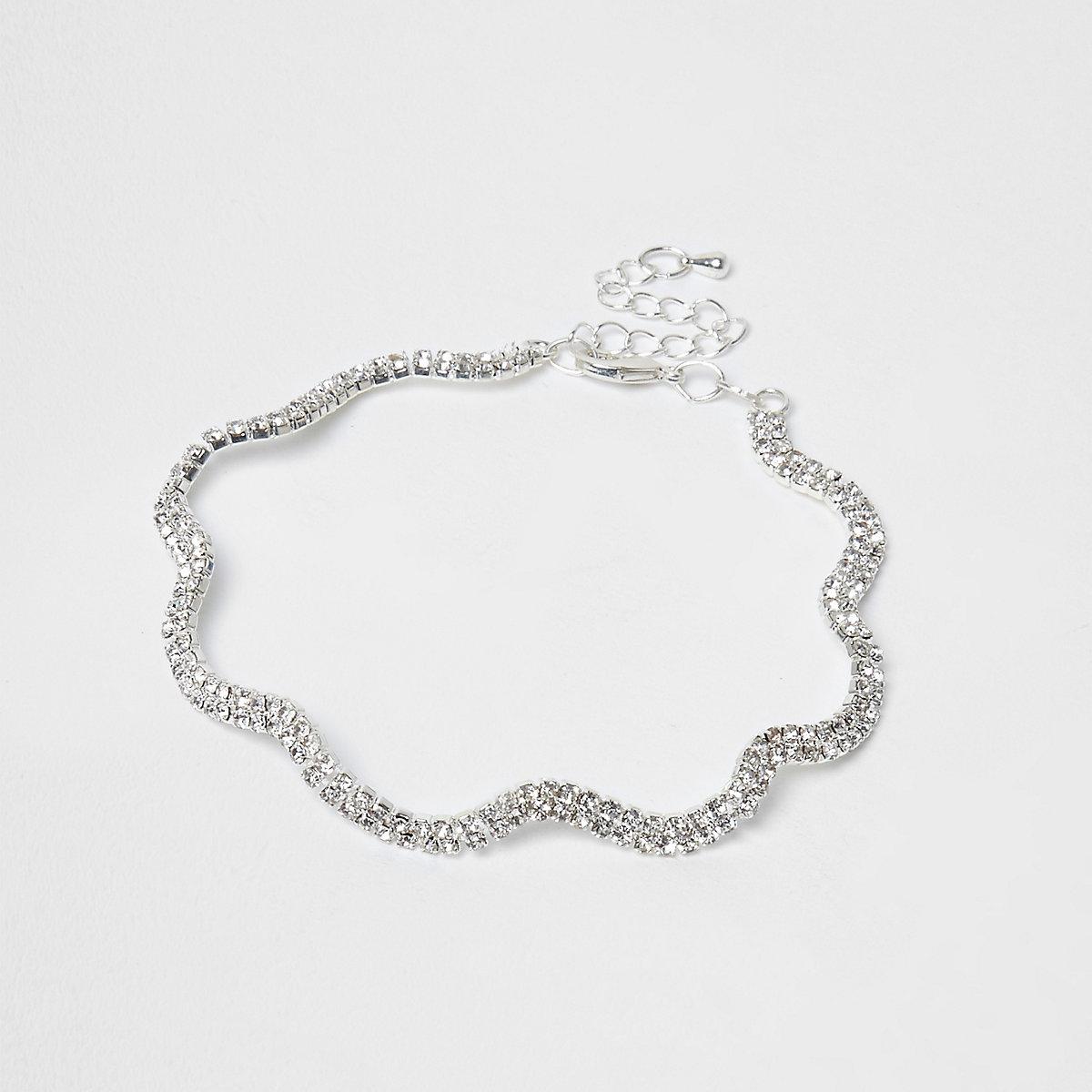 Silver colour diamante wavy anklet