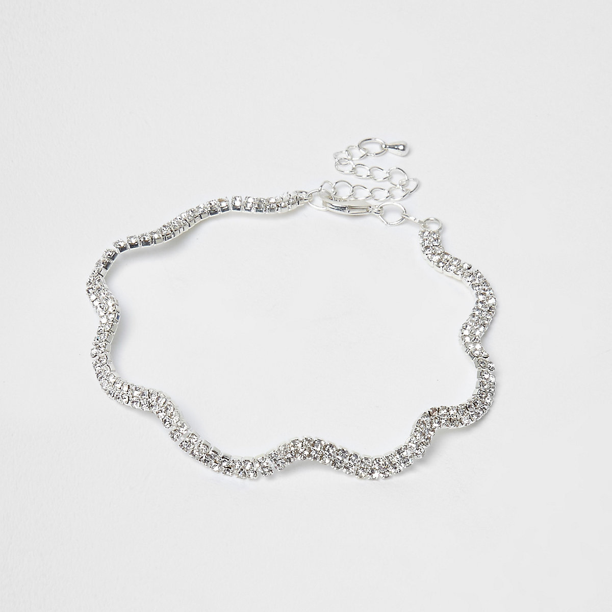 Silver color rhinestone wavy anklet
