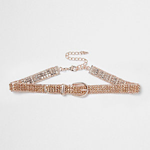 Rose gold tone diamante buckle choker