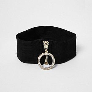 Ras-du-cou noir style années 90 à zip et anneau