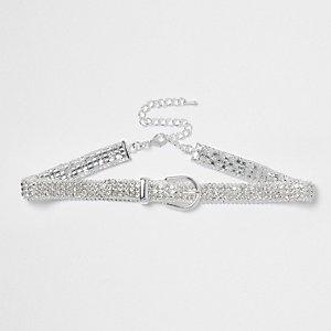 Silver tone diamante buckle choker