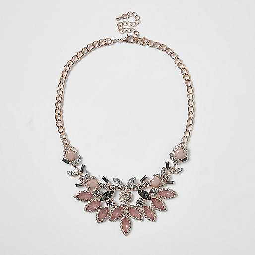 Rose gold tone jewel statement necklace