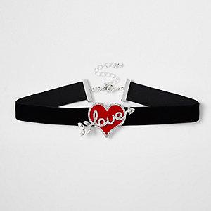 Zwarte fluwelen 'love' chokerketting met hartje