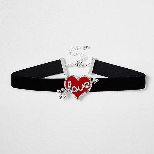 Black velvet 'love' heart choker