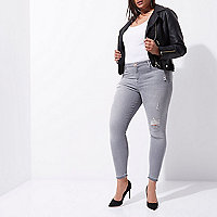 Plus grey distressed Molly jeggings