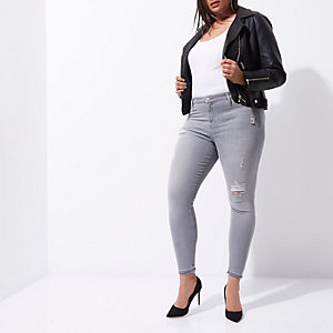 Plus – Molly – Graue Jeggings im Used-Look