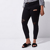 Plus black Amelie ripped super skinny jeans