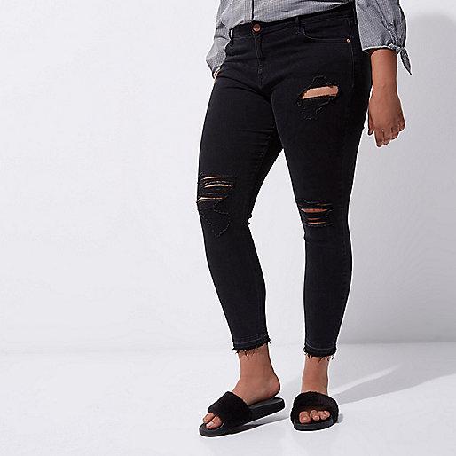 Plus black Amelie ripped super skinny jeans