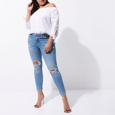 RI Plus Amelie Blauwe ripped superskinny jeans