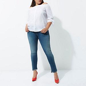 RI Plus - Alannah - Middenblauwe relaxte skinny jeans