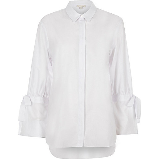 White tie cuff detail long sleeve shirt