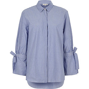Blue stripe tie cuff detail long sleeve shirt