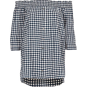 Navy gingham shirred bardot top