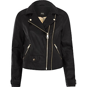 Black double zip faux leather biker jacket