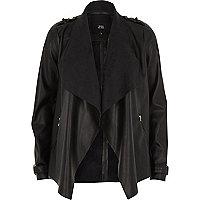 Black faux leather fallaway jacket