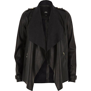 Black faux leather fallaway jacket