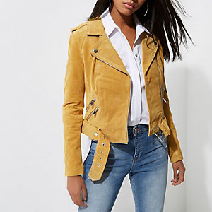 Light yellow belted suede biker jacket