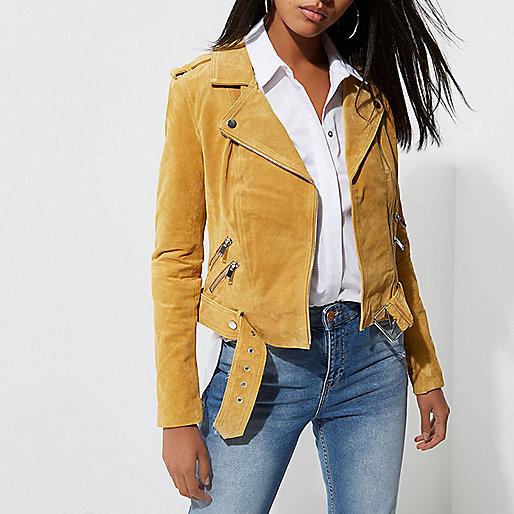 Light yellow belted suede biker jacket