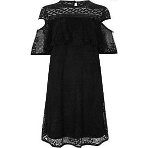 Zwarte schouderloze kanten jurk