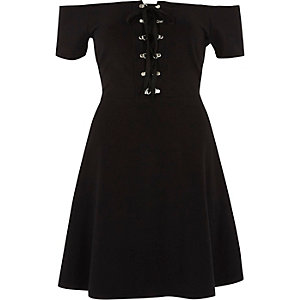 Black bardot lace up front skater dress