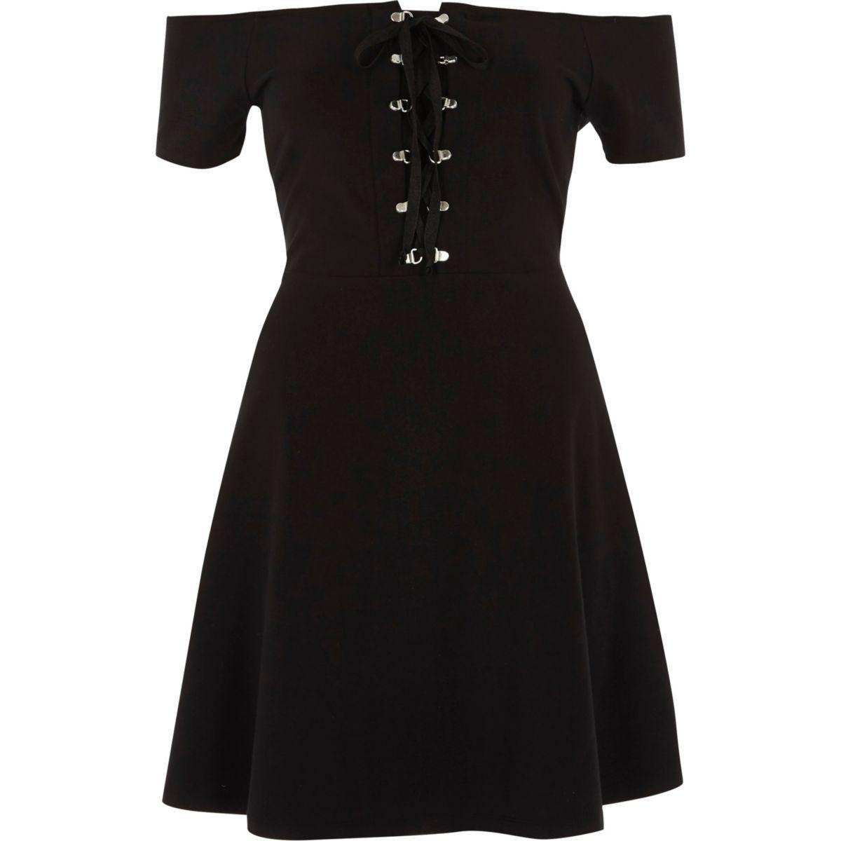 Black bardot lace up front skater dress