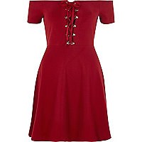 Red lace-up front bardot skater dress