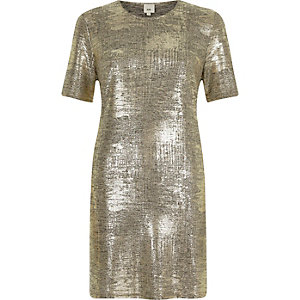 Gold metallic T-shirt dress