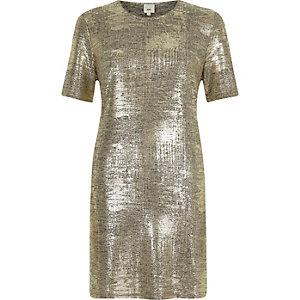 Goudkleurig metallic T-shirtjurk